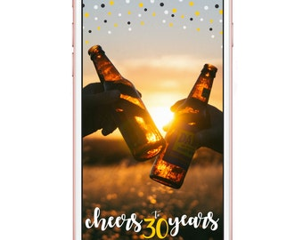 Birthday Cheers Snapchat Geofilter | Cheers to 30, 40, 50 years | Instant Download