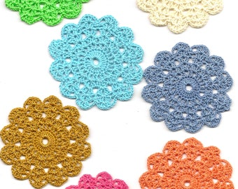 Set Of 7 Crocheted Doilies Crochet Medallions Assortment Mini Doily Boho Crafts Flower Dream Catcher Decorative Tea Time Coaster Home Decor