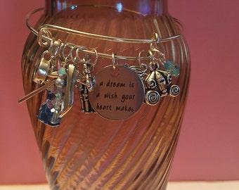 Disney Cinderella Inspired Charm Bangle Bracelet