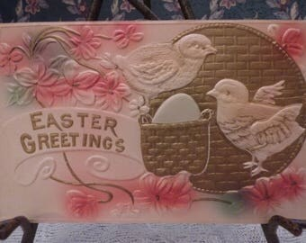 Early Embossed Easter Greetings Postcard