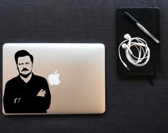 Ron Swanson - Vinyl Decal for MacBook, iPad, or Laptop