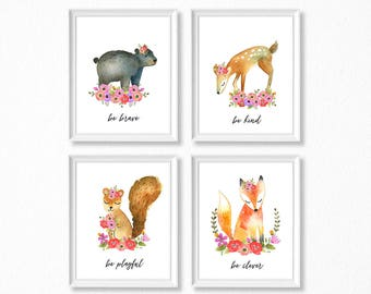 PRINTABLE Woodland Girl Nursery Art, Floral Woodland Animals Nursery Prints, Deer Bear Fox Squirrel Watercolor Woodland Set, Be Kind Brave