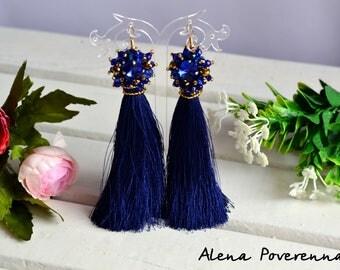 Silk earrings long, Tassel earrings, Earrings, Silk earrings, Black earrings, Fashion jewelry,Wedding  jewelry, long earrings, Blue earrings