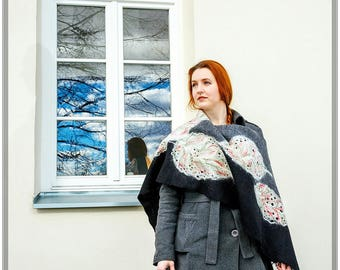 Felted unique wool scarf