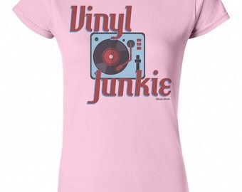 Vinyl Junkie Ladies T-Shirt Retro Birthday GiftRecord LP New