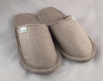 Linen slippers, men slippers, natural slippers, men home shoes, light slippers, closed toe slippers, home slippers, men house shoes
