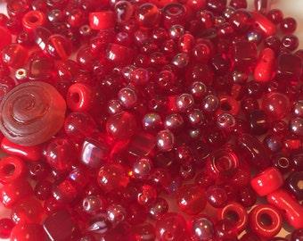 Red Czech Glass Bead Mix 100g