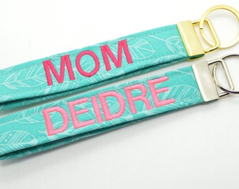 Personalized Keychain with Name Monogram Embroidered Fob Wristlet Teal with Feathers Print