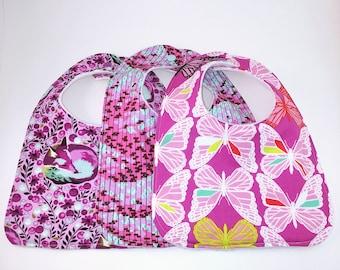 Set of 3 Handmade Bibs: Tula Pink, Amy Butler, Cotton + Steel