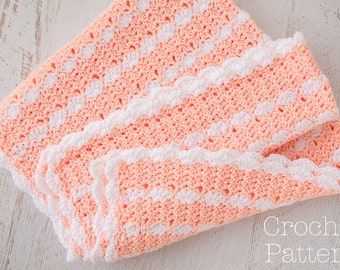 Baby Blanket Crochet PATTERN, Crochet Afghan Pattern, Scallop Edge & Trim, Peaches n' Cream, Pink and White