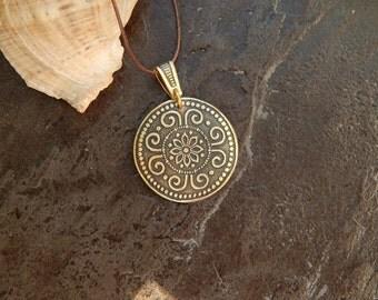 brass pendant, round brass pendant, round pendant, gift for her, pendant for women, gift for women