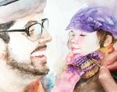 Custom Portrait , Custom family Portrait , child portrait,Baby painting,original watercolor painting