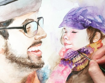 Custom Portrait , Custom family Portrait , child portrait,Baby painting,original watercolor painting
