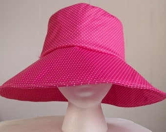 Polka Dotted Pink Sun Hat