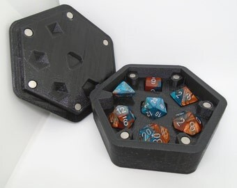 Customizable 3D Printed Slotted D&D RPG Hex Dice Box