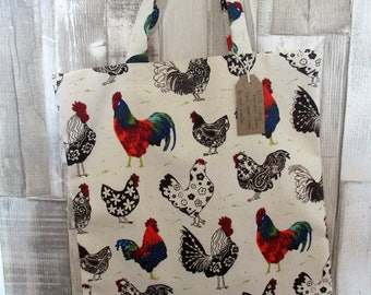 Rooster tote bag, Chicken tote, Farmers Market bag, Reusable Shopper bag, Eco bag, Cotton tote