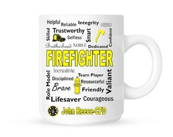 Firefighter Mug, Firefighter Gift, Fireman Gift, Fire, Hero, Firefighter Gifts, Fireman Birthday, Father's Day, Firefighter Home, Coffee Mug