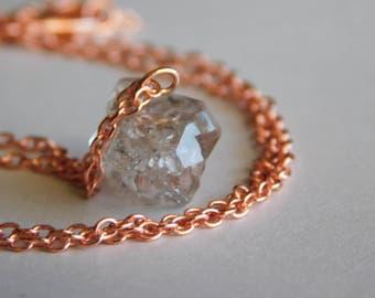 Herkimer Diamond Necklace * Single herkimer necklace * Dainty Herkimer Rose Gold Necklace * April Birthstone * Rough Gemstone * Raw Stone *