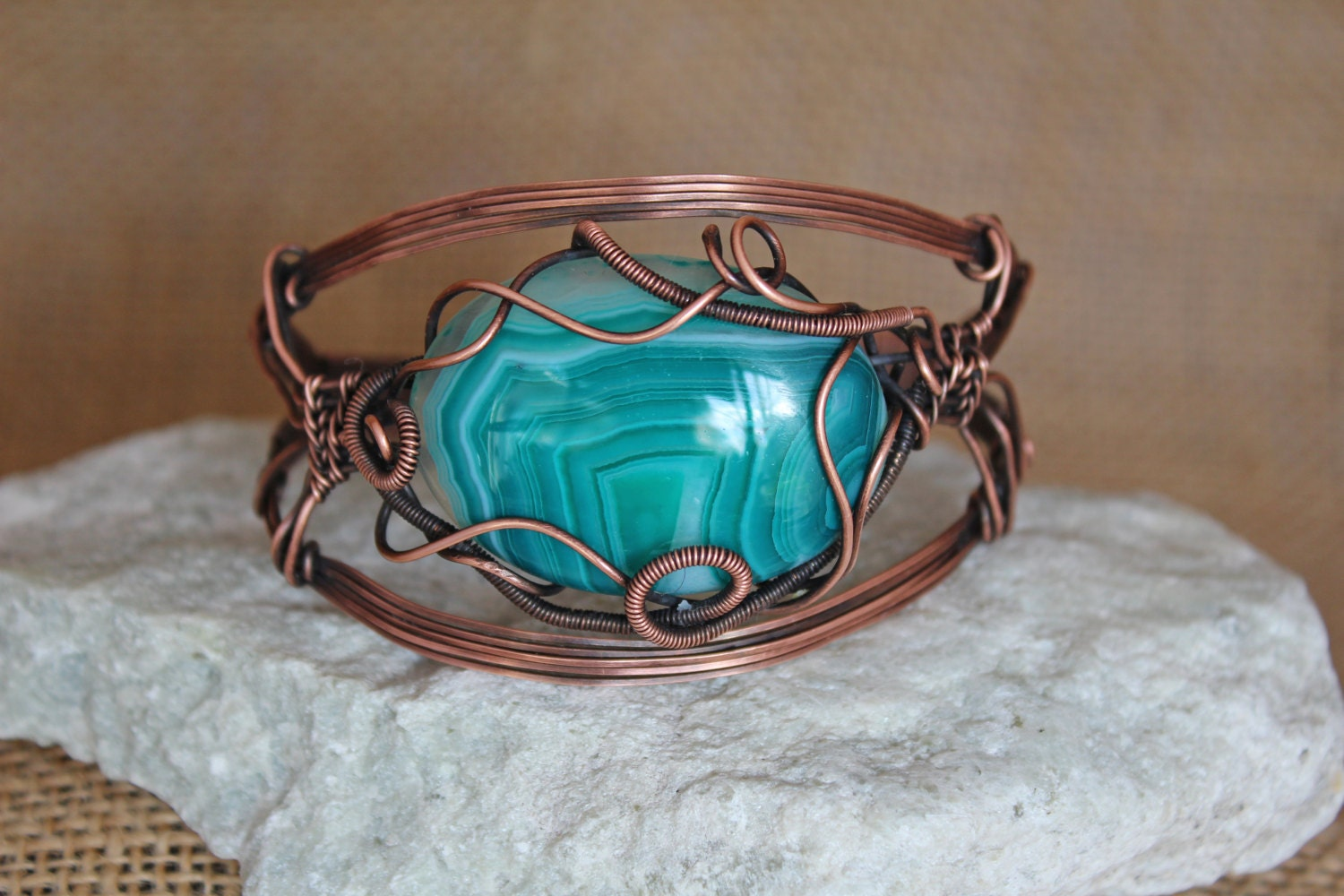 Teal Striped Agate Oxidized Copper Wire Wrapped Adjustable Cuff ...