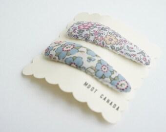 Set of 2 hair snap clips, baby, kids, toddler girls, Liberty fabric