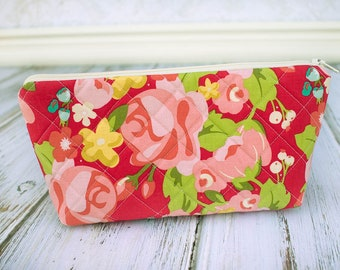 Quilted Zipper Pouch, Cosmetic Case, Make Up Bag, Red and Pink Floral