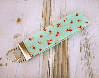 Quilted Fabric Key Fob, Key Chain, Key Holder -   Sweet Floral Blue