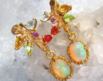 Natural Opal 18K Goldplated Silver Saphire Earrings