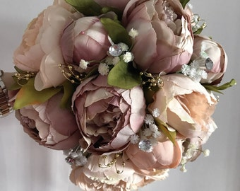 wedding bouquets,Shabby Chic, Vintage pink,peach Ivory, Brides, Bridesmaids, Flowergirls etc