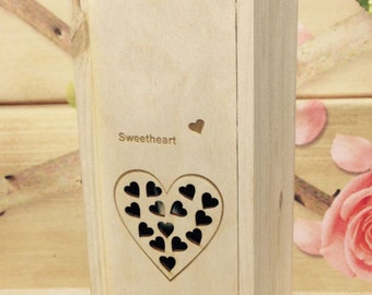 Personalised Wooden Wine Bottle Box- Bespoke Gift - Valentines Present -  Made to Order Present Lasered Engraved