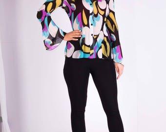 Womans blouse,Colored blouse,Long sleeves blouse,Pleated blouse,Chiffon blouse,Size L