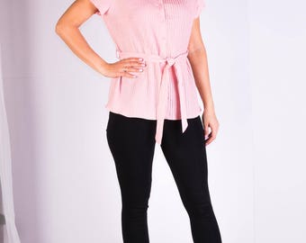 Womans blouse,Pink blouse,Short sleeves blouse,Size 14 UK