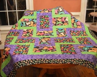 Kitties and Fishes Large Lap Quilt