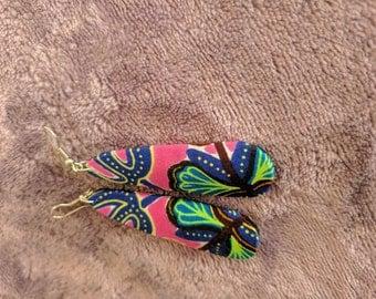 Handmade pink and green flower burst earrings