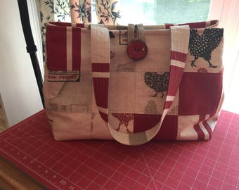 Handmade quilted tote bag with a farm scene