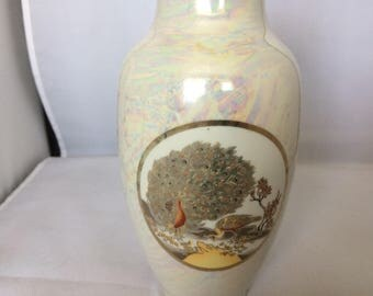 Satsuma vase , japanese vase , lustre ware , peacock vase , decorated vase , home wares , collectables , vintage collectables , vintage