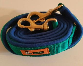 Blue and green heavy duty dog lead with strong brass clips