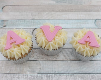 Cupcake letters, sugarpaste fondant letters, numbers, cupcake toppers, edible cupcake toppers, names, ages, fondant alphabet, cake toppers,