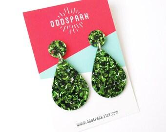 Drop Dangles in Green Glitter Acrylic