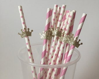 Pink and Gold Glitter Crown Paper Party Straws - 12 count - Birthday Party Shower Decorations Decor - Princess Prince King Queen Royalty