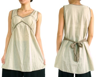 Women Cream Beige Loose Comfy Cotton Sleeveless Blouse with Back Bow Tie - TOP018