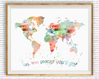 Oh the Places You'll Go Wall Art World Map Print World Map Poster, Nursery Wall Art, Nursery Decor, Nursery Art, ArtPrintZone