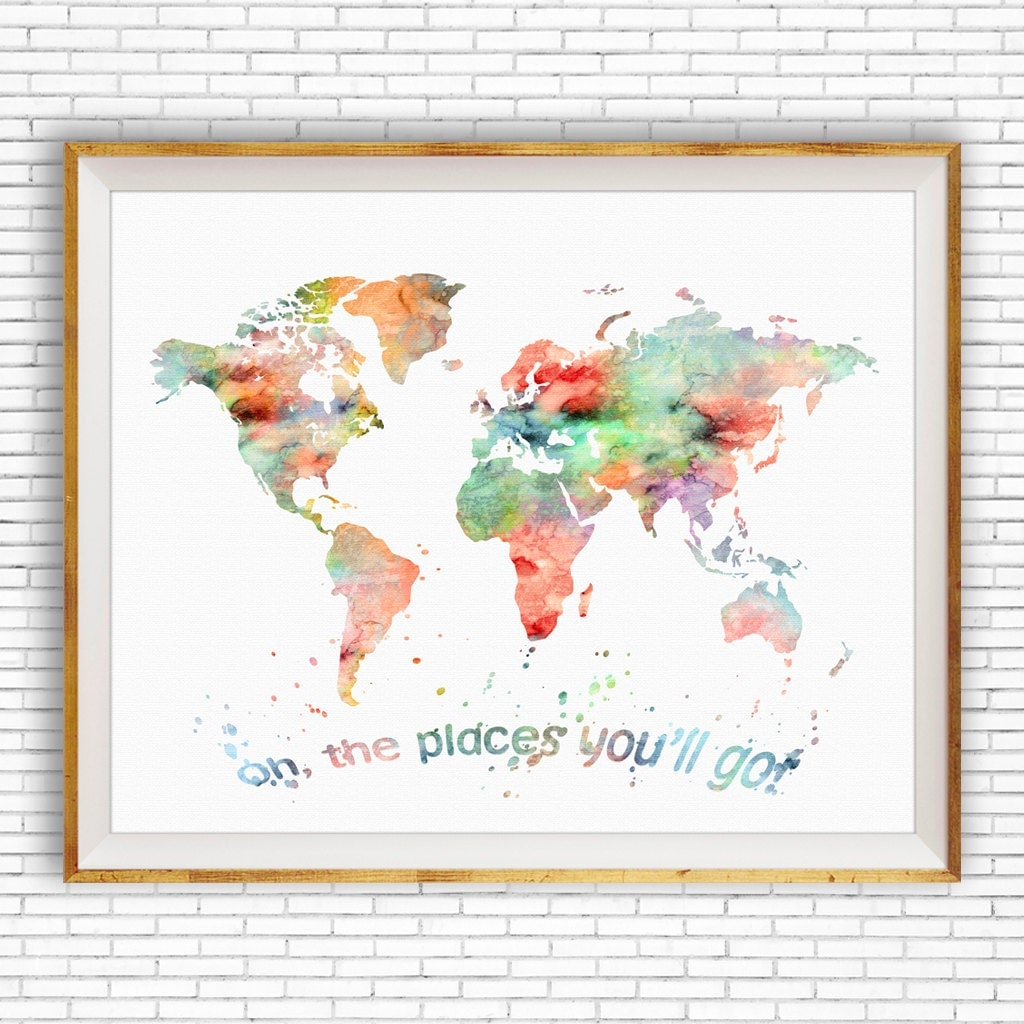 Oh the places youll go wall art world map print world map oh the places youll go wall art world map print world map poster nursery wall art nursery art artprintzone gift for women gumiabroncs Images