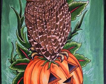 Owl and Pumpkin Print