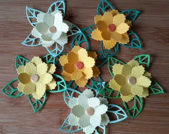 Yellow flowers and leaves ready assembled for scrapbook and card making projects