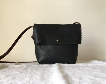 Black Purse with Oxblood and steel blue details
