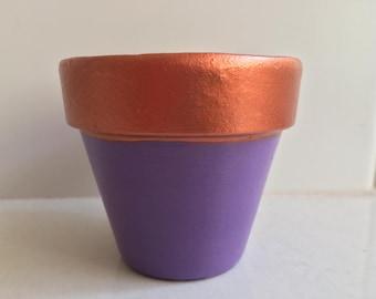 Copper/Purple Terracotta Pot