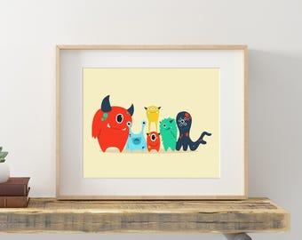 Nursery Monster Art, Cute Monster Print, Colorful Monster Art, Kids Monster Art, Monster Kid Wall Art, Monster Printable, Nursery Art Print