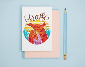 Giraffe Animal Art Illustration A6 Postcard Single Print