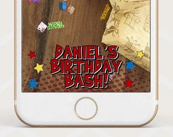 Comic Pop Art Birthday geofilter, Boy's Birthday Snapchat filter, birthday geofilter, popart style birthday geo filter, red bday filter B31