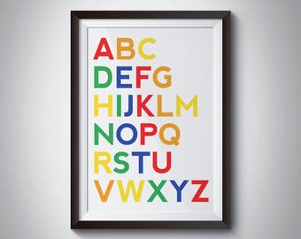 ABC Rainbow Print - Nursery - Bedroom - Wall Art